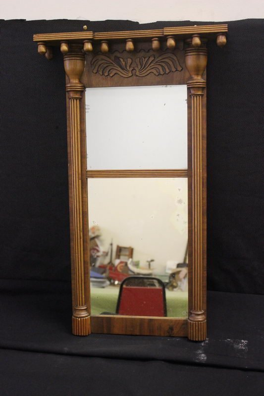 4: FEDERAL MIRROR WITH ACORN TOP AND HAND CHAMFERED BAC