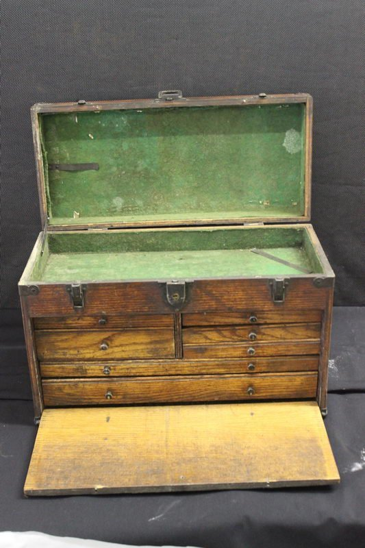 5: GREAT MACHINIST CHESTS WITH FELT INTERIOR HANDLES IN