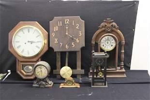 LOT OF SIX PARTS CLOCKS - GILBERT - SETH THOMAS AND