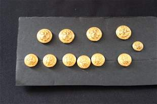 11 MILITARY BRASS BUTTONS
