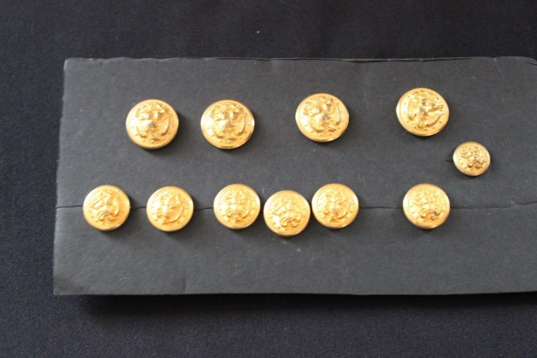 12: 11 MILITARY BRASS BUTTONS