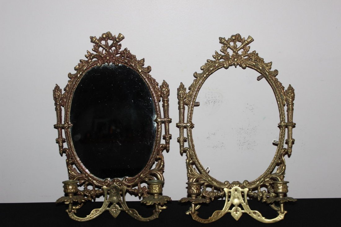 16: TWO VICTORIAN PERIOD BRASS WALL HANGING MIRRORS WIT