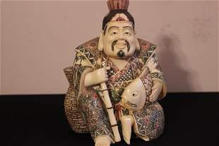 ANTIQUE FAUX IVORY FISHERMAN HEAVY AND MINT - SIGNE