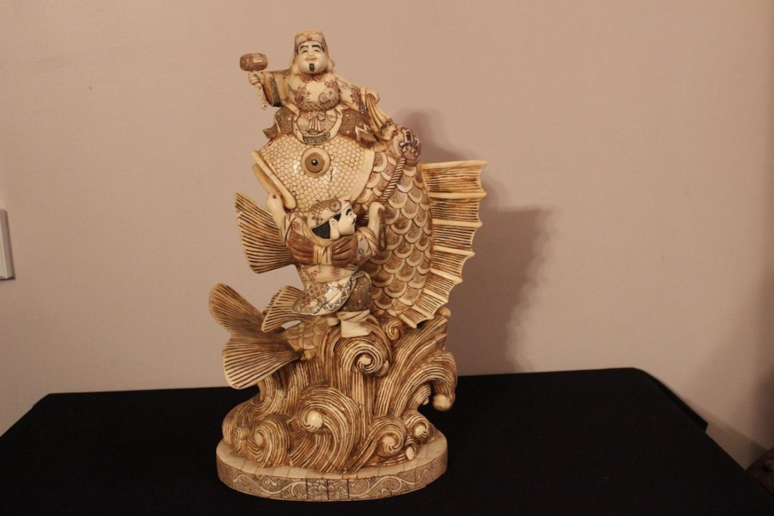 21: MOST ELABORATE ANTIQUE FAUX IVORY VERY HEAVY AND BE