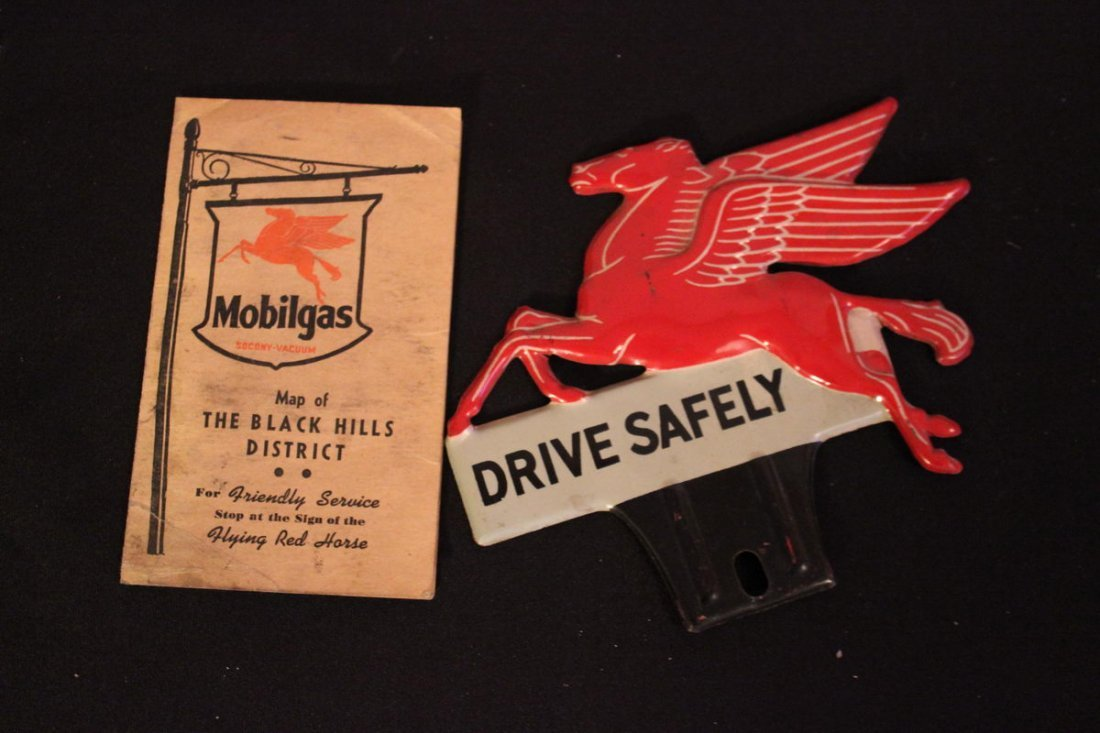 22: TWO PIECES OF AUTO ADVERTISING - MOBIL GAS METAL FL