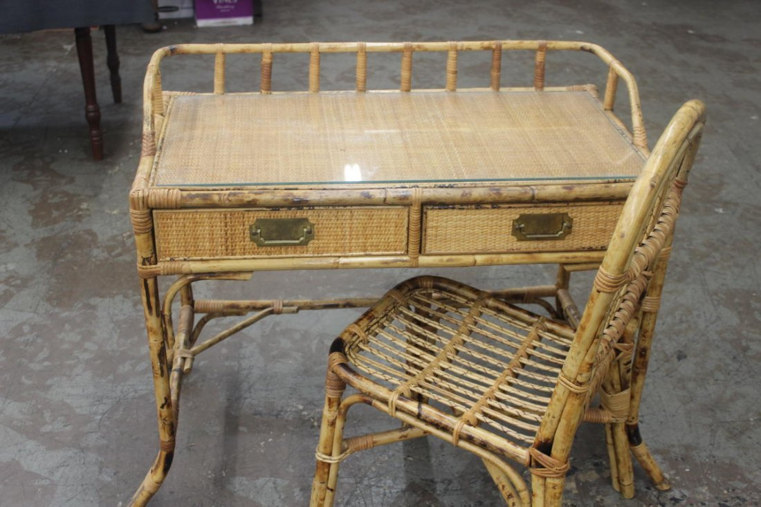 2: BAMBOO AND WICKER DESK AND CHAIR - GLASS TOP - MINT