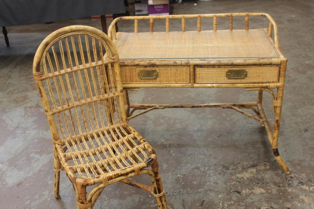 2: BAMBOO AND WICKER DESK AND CHAIR - GLASS TOP - MINT - 2