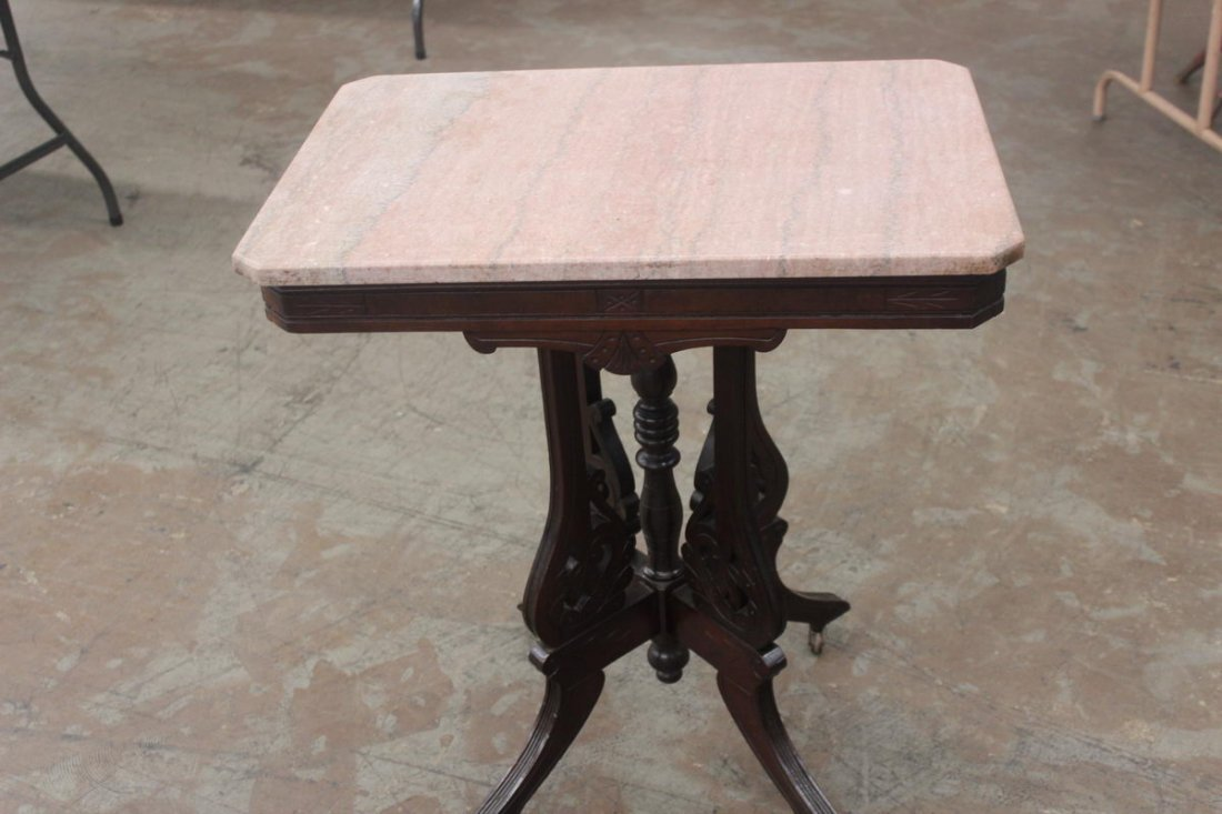 13: VICTORIAN MARBLE TOP ROSE MARBLE