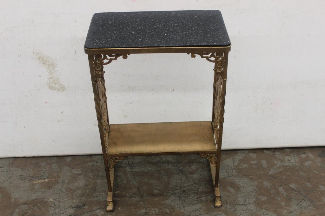 """16: IRON STAND MARBLE TOP 28"""" TALL"""