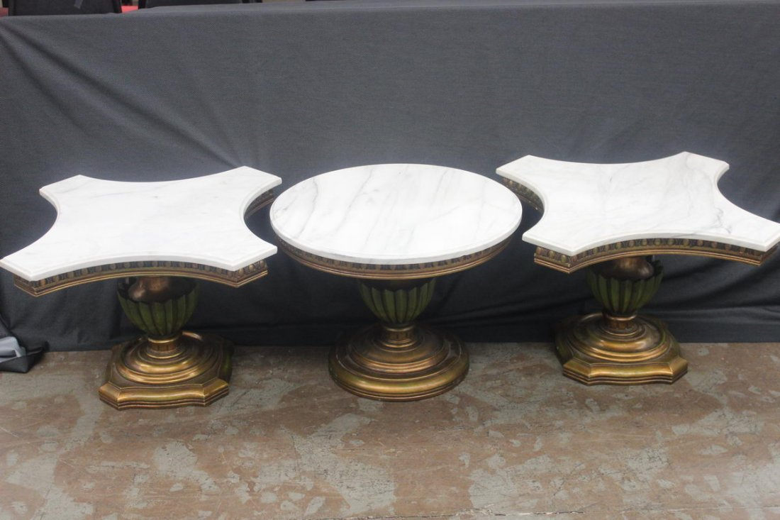 23: NICE THREE-PIECE WOODEN NESTLING MARBLE TOP SET WIT