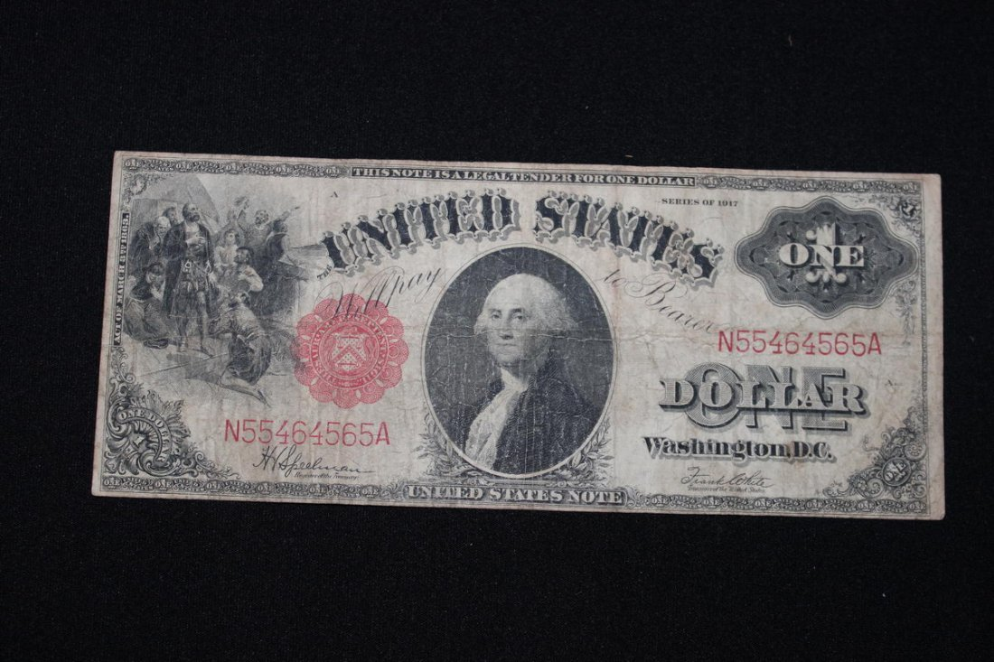 22: 1917 RED SEAL $1 BILL GOOD CONDITION