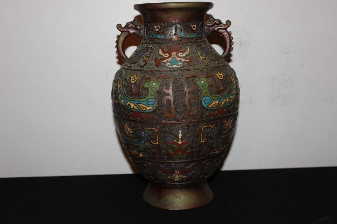 "5: ANTIQUE JAPANESE CLOISONNÉ VASE 12.3"" TALL"