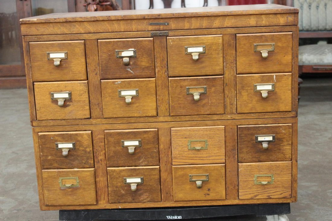 15: OAK 16 DRAWER CARD CATALOG CABINET SIGNED LIBRARY B