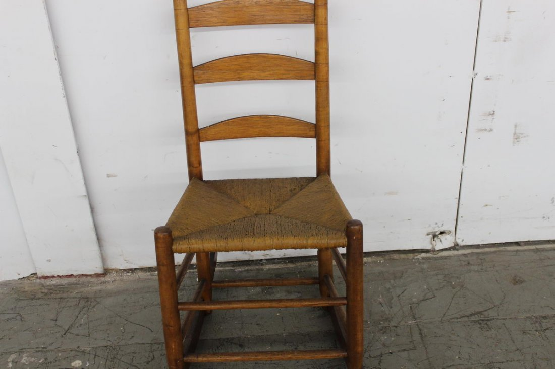 17: EARLY LADDER BACK ROCKER HANDMADE MID-1800 RUSH SEA