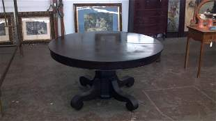 Mahogany round table with four leaves
