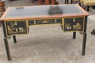 BEAUTIFUL ORIENTAL STYLE DESK WITH LEATHER TOP BY S