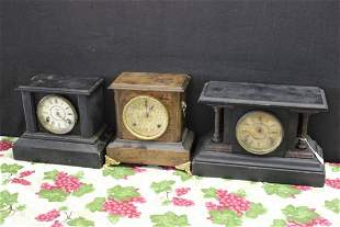 3 MANTEL CLOCKS COMPLETE ALL NEED REPAIRS