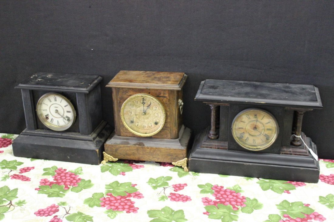 21: 3 MANTEL CLOCKS COMPLETE ALL NEED REPAIRS