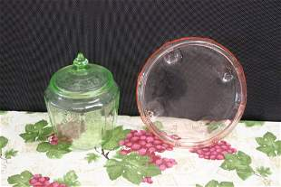 TWO PIECES DEPRESSION GLASS CENTERPIECE AND COVERED