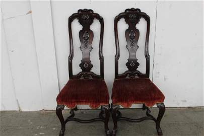 32: TWO FANTASTIC 1640 WILLIAM AND MARY CHAIRS IN ROSEW