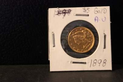 1898 $5 GOLD A.U.