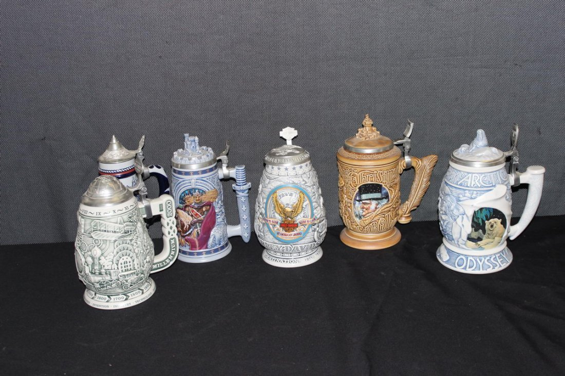 LOT OF 6 COLLECTOR STEINS HARLEY, AVON & MORE