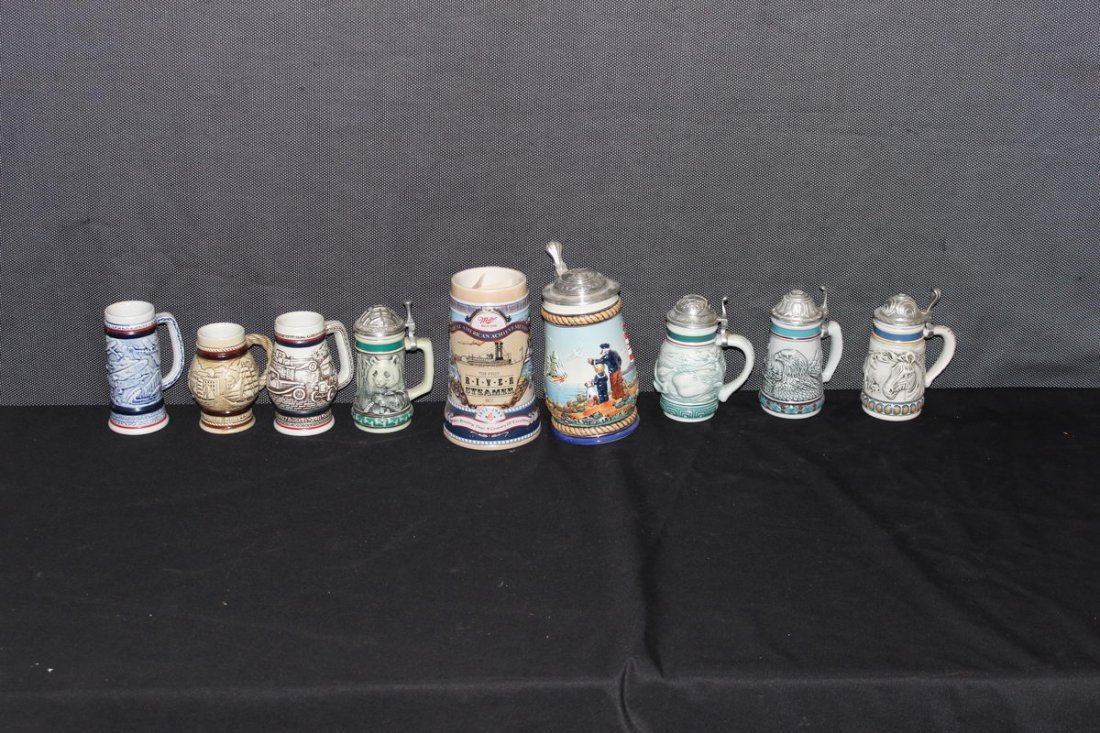 LOT OF 9 COLLECTOR STEINS