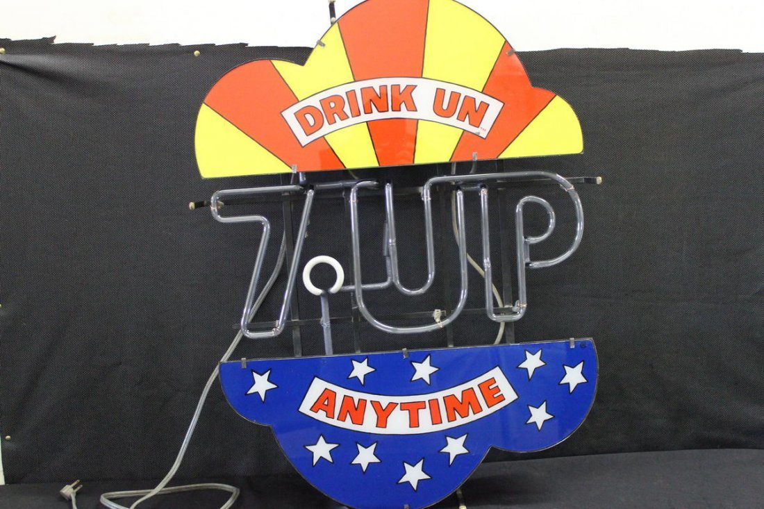 RARE 7 UP NEON SIGN - DRINK UN ANYTIME- MINT - 32 X 25