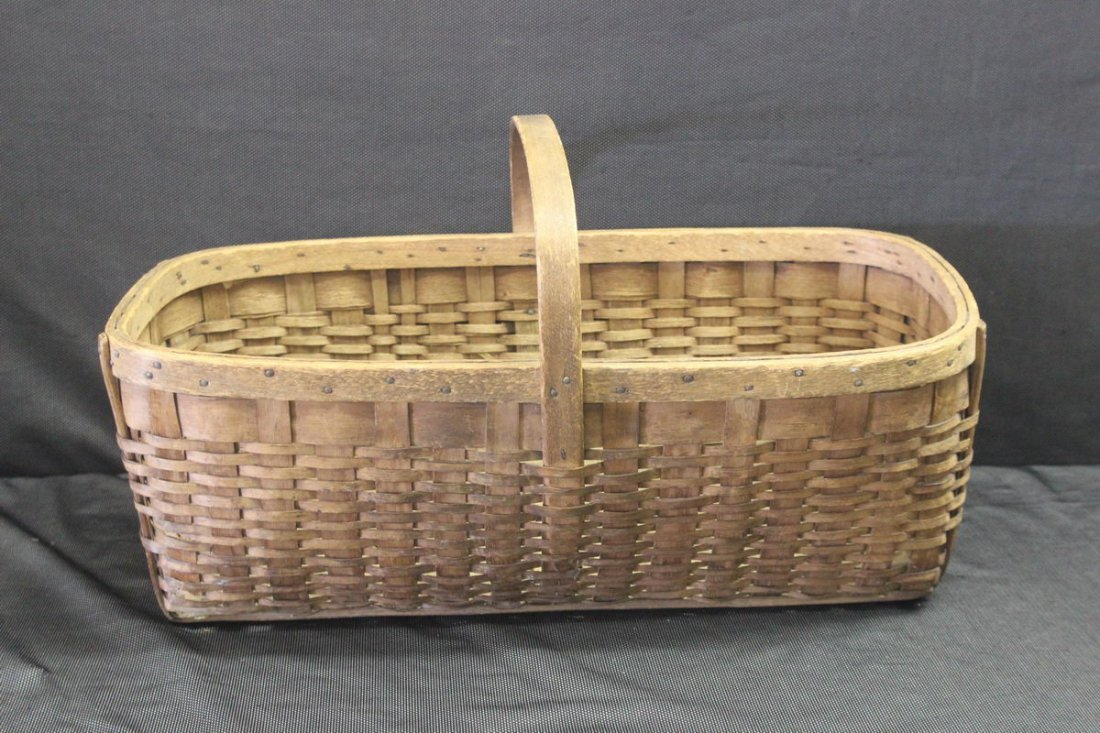 EXC. HANDMADE SPLINT BASKET - GOOD COND.
