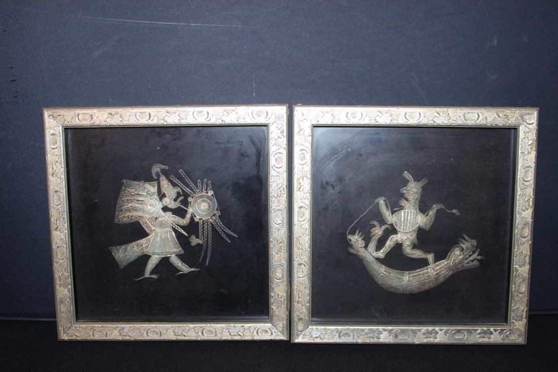 INTERESTING PAIR OF BRONZE ORIENTAL SHAPED ARTWORK 10 X