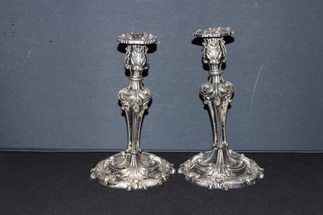 ORNATE PAIR OF REED AND BARTON DOUBLE PLATED CANDLESTIC