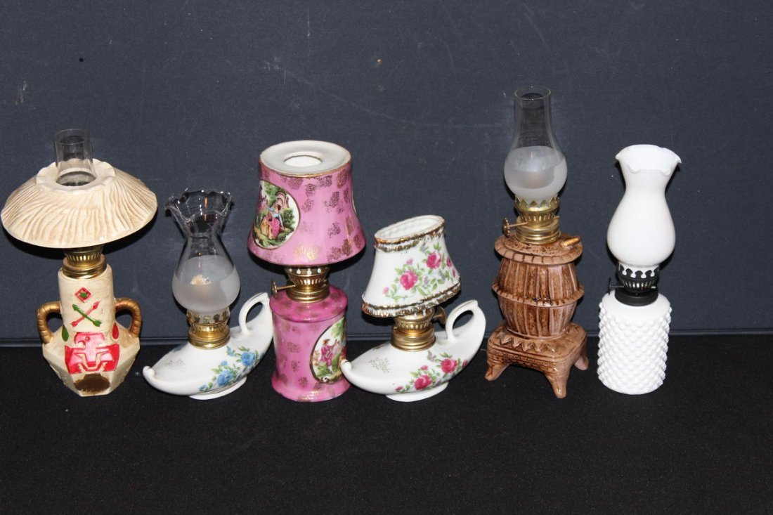 FROM THE 1960S - 6 EXCELLENT MINIATURE KEROSENE LAMPS A