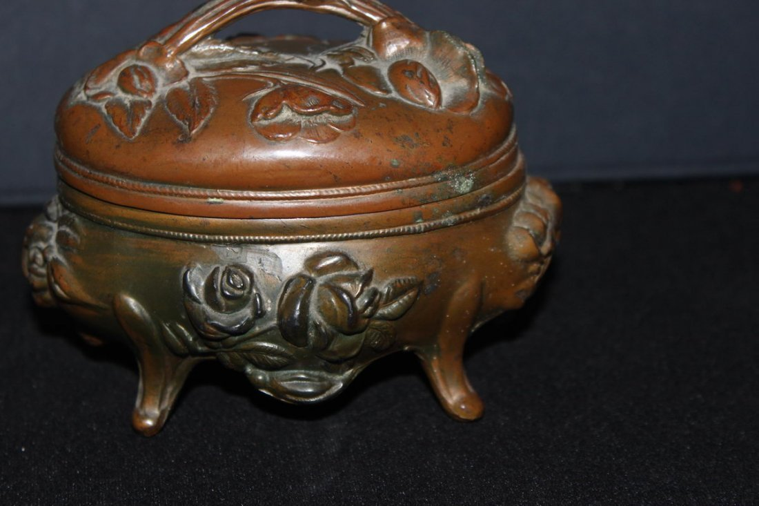 NICE METAL JEWELRY CASE DATED 1904