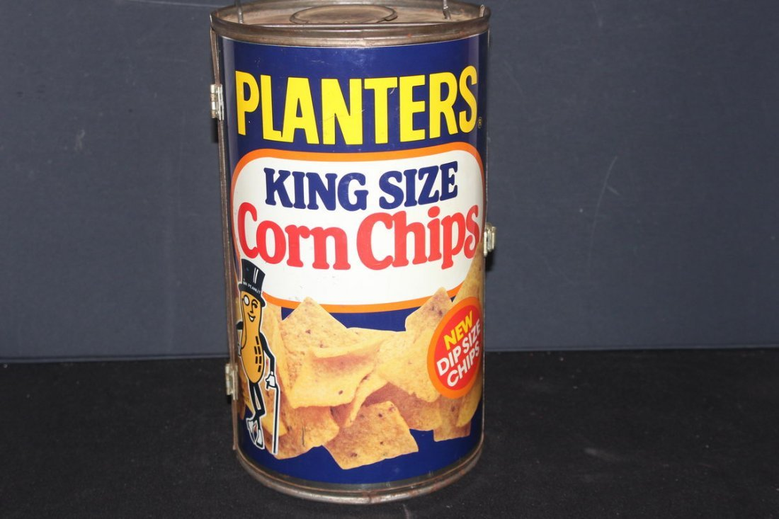 MOST UNUSUAL MR. PEANUT CORN CHIPS ROUND CAN GRILL EXCE