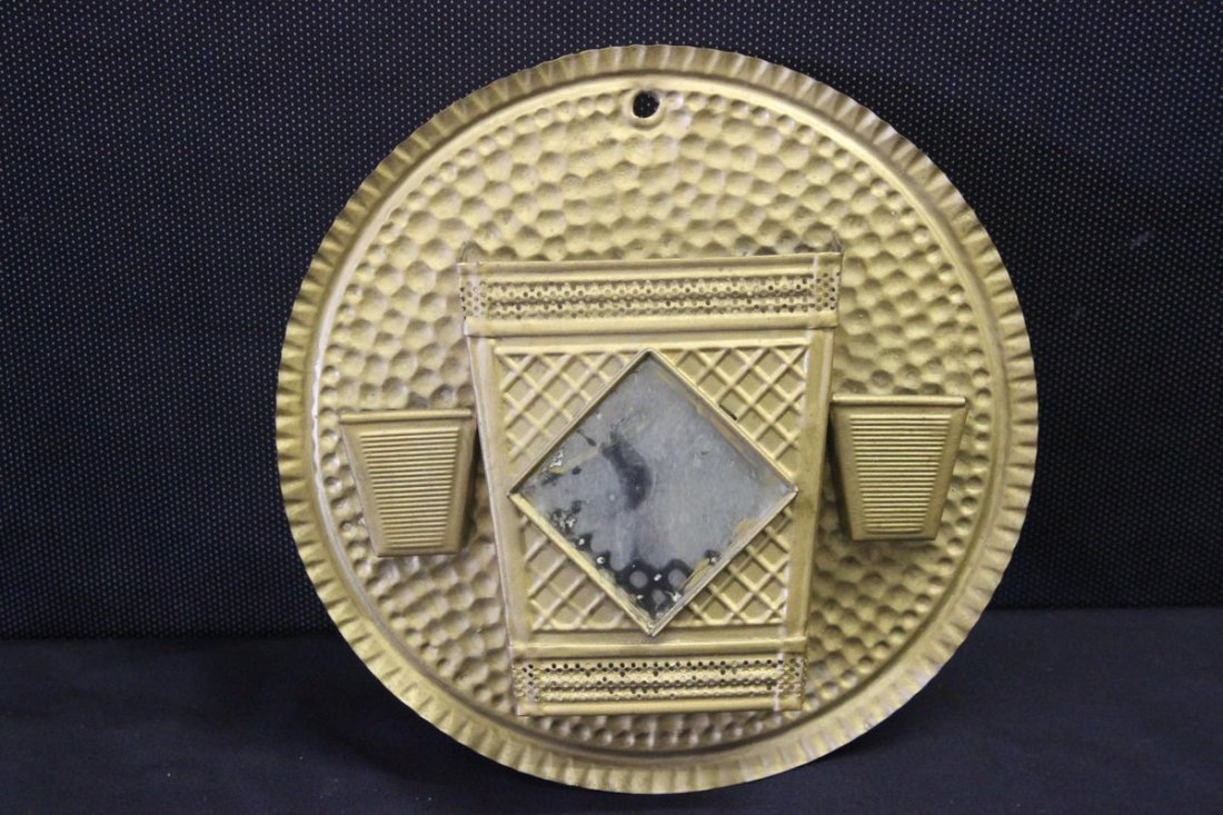 """HAMMERED TIN  MATCH SAFE ABOVE THE STOVE 9.5"""""""