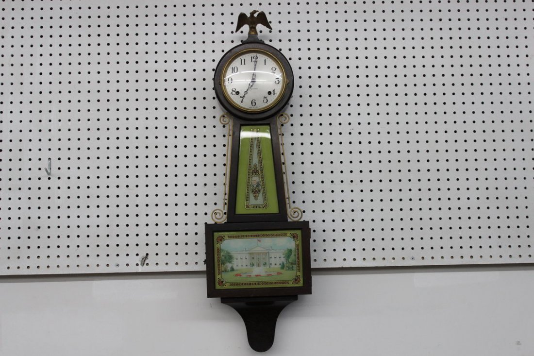 """SESSION BANJO CLOCK 34"""" REVERSE PAINTING NEEDS CLEANING"""