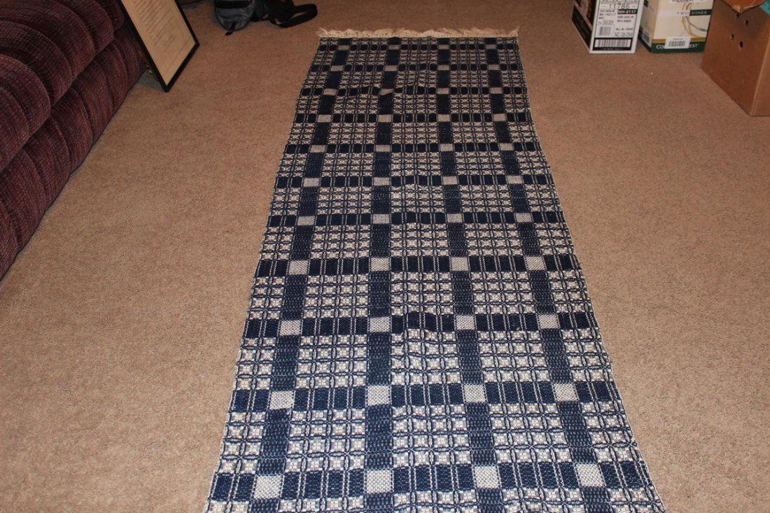 BLUE-AND-WHITE SINGLE SIZE HOMESPUN EXCELLENT CONDITION