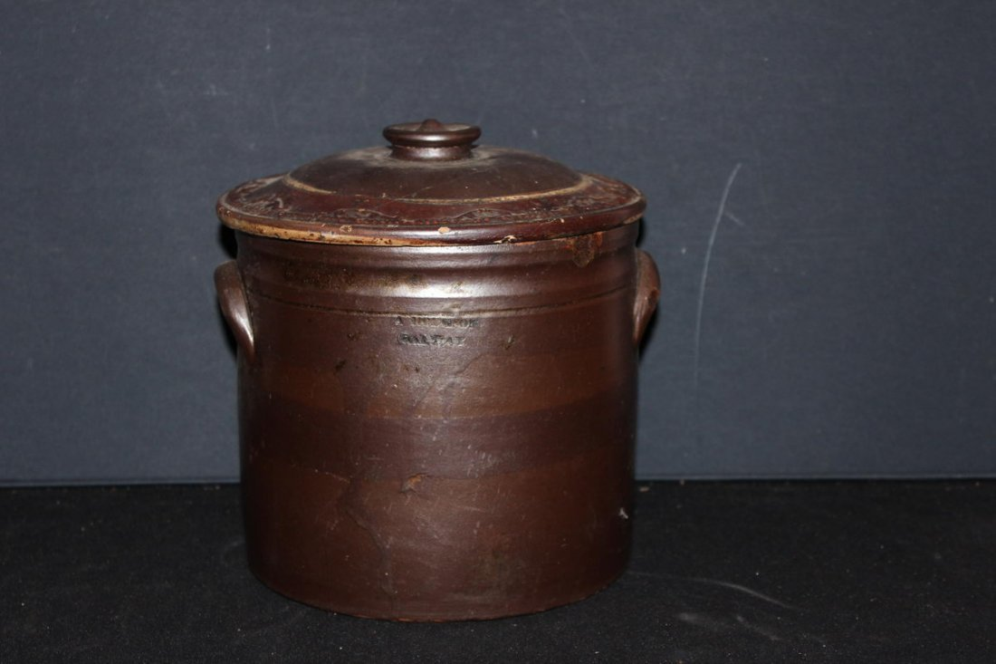HARD-TO-FIND GALWAY BROWN CROCK WITH COVER
