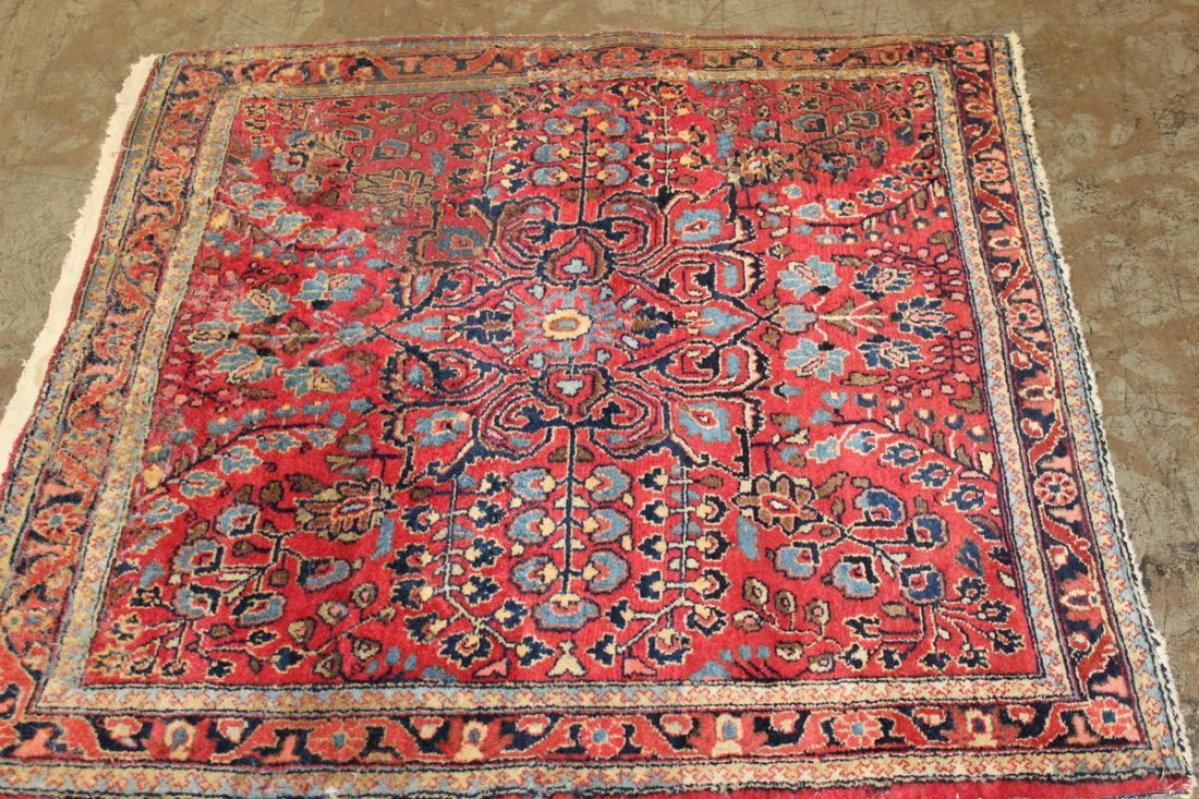 ANTIQUE ORIENTAL WITH MANY BRIGHT COLORS 45 X 42