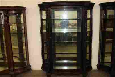 FANTASTIC MAHOGANY ROUND FRONT CHINA WITH HARD TO FIND