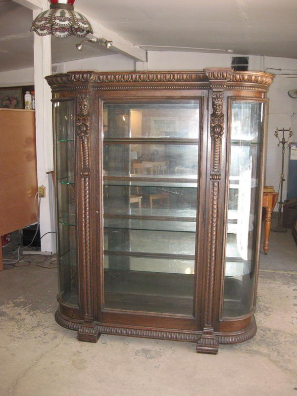 OUTSTANDING OAK HORNER CURVED GLASS CHINA CLOSET WITH C