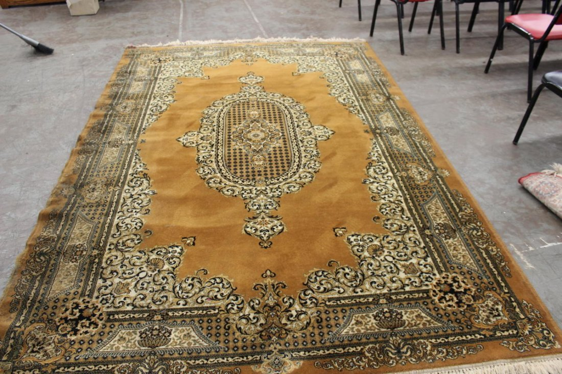 THIS IS A BEAUTIFUL RUG BUT HAS MINOR DAMAGE ON ONE BOR