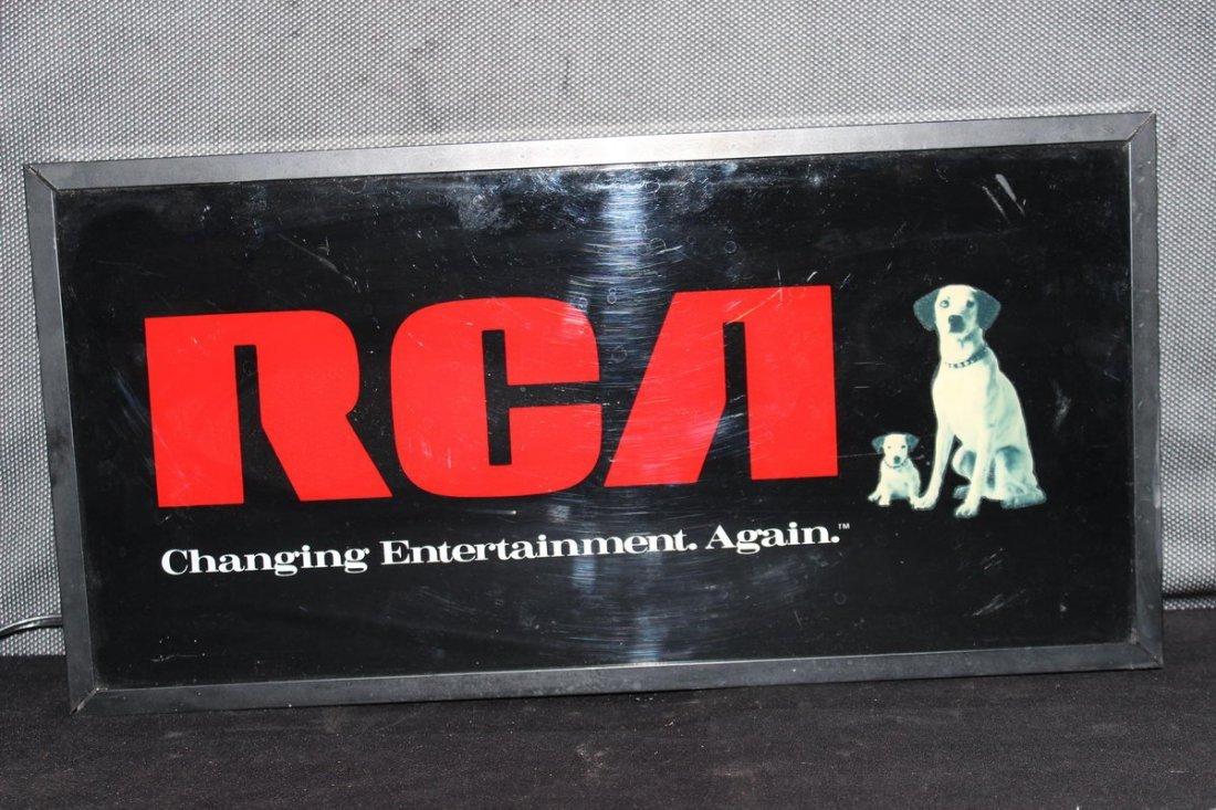 "RCA LIGHTED SIGN 10"" H X 20"" L X 3.5"" DEEP - MINT"