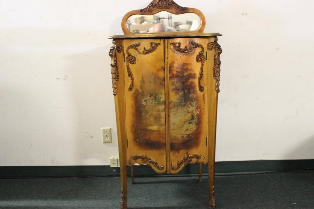EXQUISITE FRENCH VERNIS MARTIN GILTWOOD MUSIC CABINET -