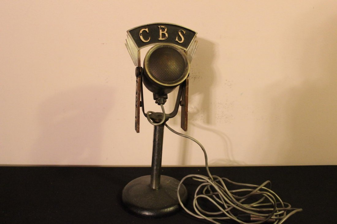 TERRIFIC CBS RADIO BROADCASTING SOLID BRASS MICROPHONE