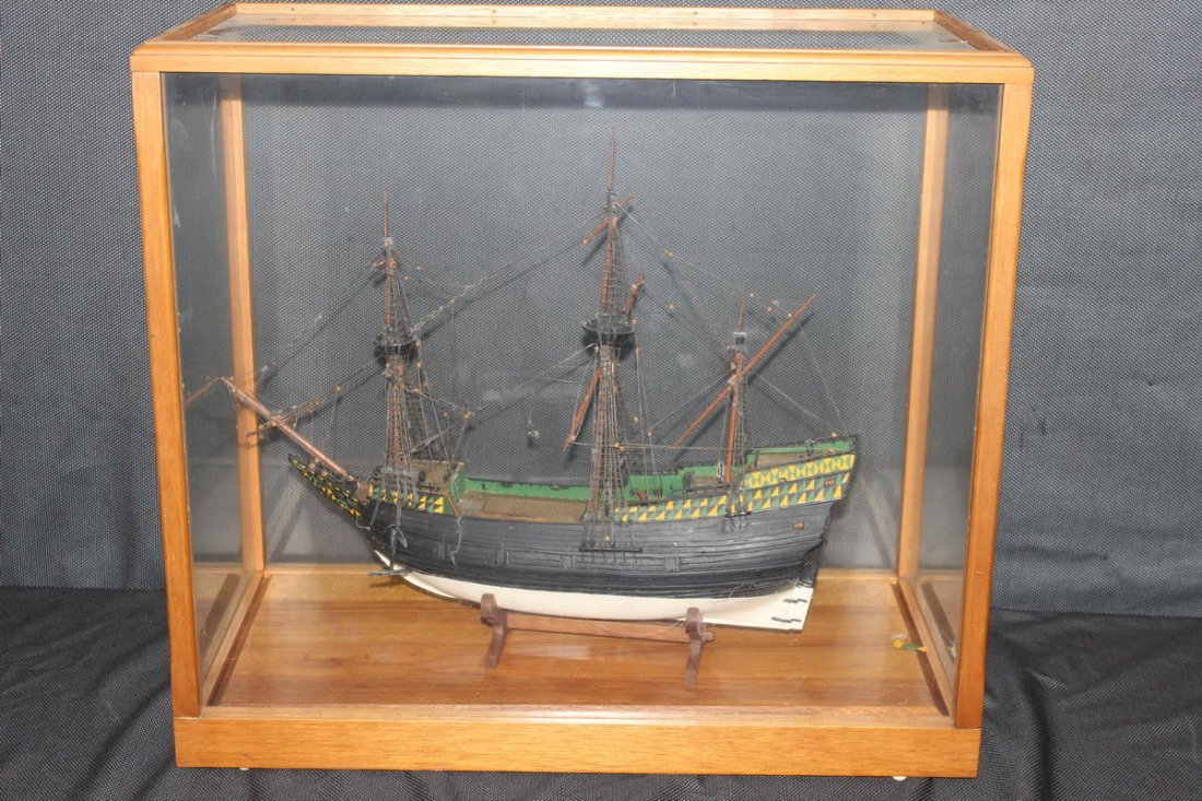 WOODEN SHIP ENCLOSED IN GLASS AND WOOD CASE - GOOD