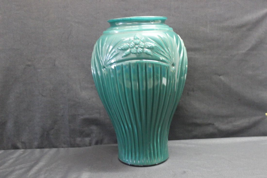 """EMERALD GREEN GLASS BOWED VASE IN MINT CONDITION 17"""""""