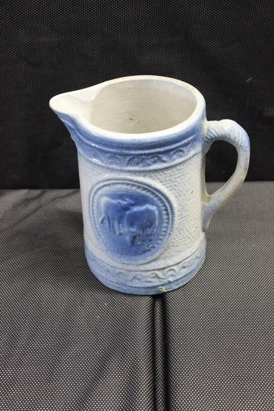 """BLUE GRAY MILK PITCHER 8"""" HIGH - COWS PICTURED - NO"""