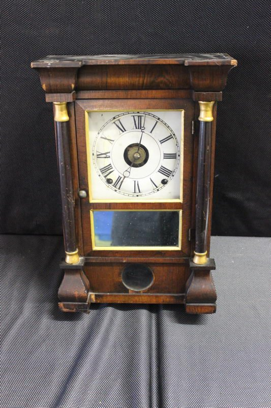 VERY NICE PILLAR CLOCK ALL COMPLETE WITH CLEAN GLASS,