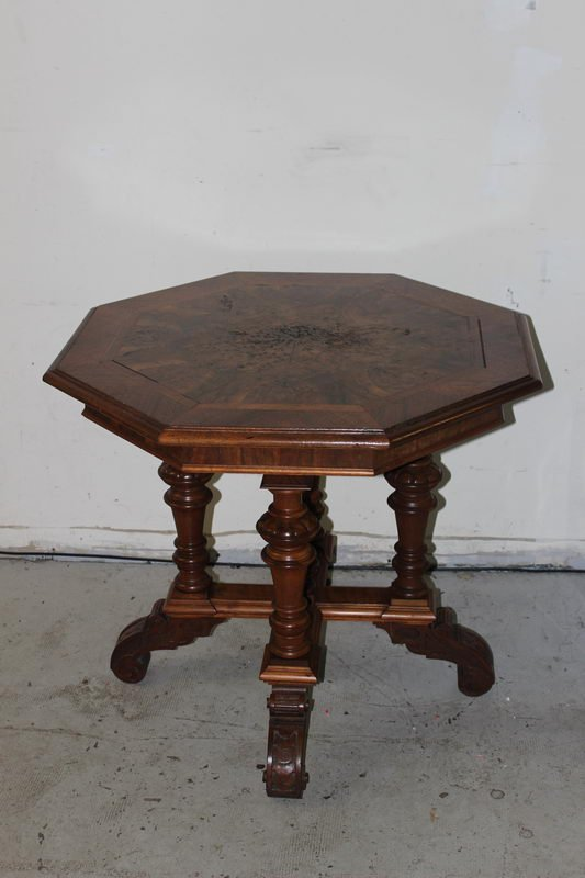 VERY NICE OCTAGON BURLED WALNUT PARLOR TABLE WITH